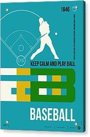 Baseball Poster Acrylic Print by Naxart Studio