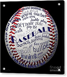 Baseball Terms Typography 1 Acrylic Print by Andee Design