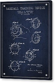 Baseball Training Device Patent Drawing From 1963 Acrylic Print by Aged Pixel