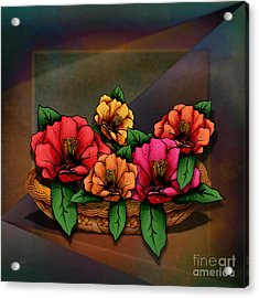 Basket Of Hibiscus Flowers Acrylic Print by Bedros Awak