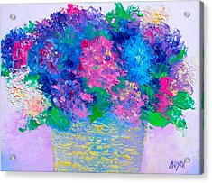 Basket Of Hydrangeas Acrylic Print by Jan Matson