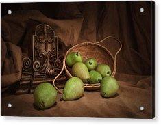 Basket Of Pears Still Life Acrylic Print by Tom Mc Nemar