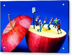 Basketball Games On The Apple Little People On Food Acrylic Print by Paul Ge