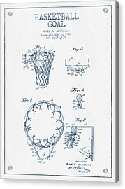 Basketball Goal Patent From 1936 - Blue Ink Acrylic Print by Aged Pixel