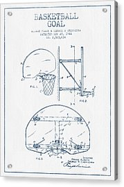 Basketball Goal Patent From 1944 - Blue Ink Acrylic Print by Aged Pixel