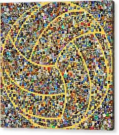 Basketball Mosaic Acrylic Print by Yury Malkov