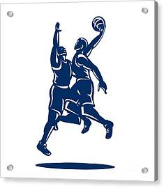 Basketball Player Dunk Block Retro Acrylic Print by Aloysius Patrimonio