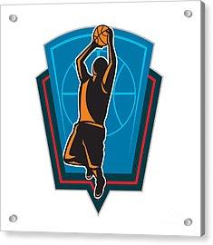 Basketball Player Rebounding Ball Shield Retro Acrylic Print by Aloysius Patrimonio