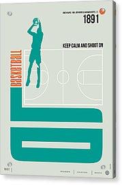 Basketball Poster Acrylic Print by Naxart Studio