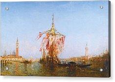 Bateau Pavoise Sur Le Bassin Acrylic Print by Celestial Images