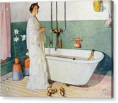 Bathroom Scene Lisbeth Acrylic Print by Carl Larsson