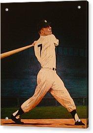 Batting Practice - Mickey Mantle Acrylic Print by Rick Fitzsimons