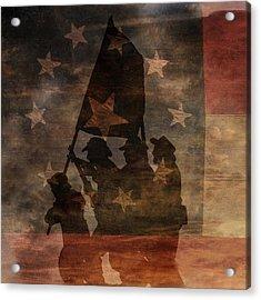 Battle Flag Silhouette 1st Of Three Acrylic Print by Randy Steele