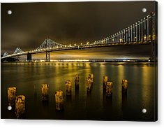 Bay Bridge And Clouds At Night Acrylic Print by John Daly