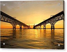 Bay Bridge Sunset Acrylic Print by Jennifer Casey