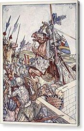 Bayard Defends The Bridge, Illustration Acrylic Print by Herbert Cole