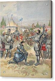 Bayard Knighting Francis I Acrylic Print by Albert Robida