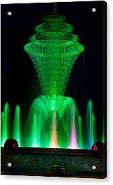Bayliss Park Fountain Green Acrylic Print by Becky Meyer