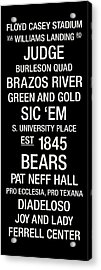 Baylor College Town Wall Art Acrylic Print by Replay Photos