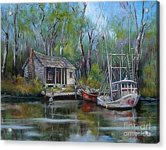 Bayou Shrimper Acrylic Print by Dianne Parks