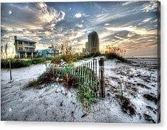 Beach And Buildings Acrylic Print by Michael Thomas