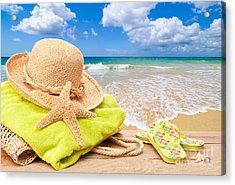 Beach Bag With Sun Hat Acrylic Print by Amanda Elwell
