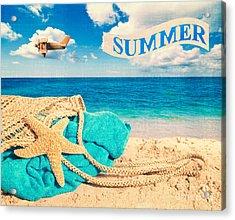 Beach Basket Acrylic Print by Amanda Elwell