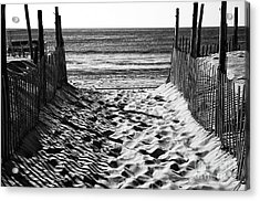 Beach Entry Black And White Acrylic Print by John Rizzuto