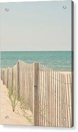 Beach Fence Ocean Shabby Photograph Acrylic Print by Elle Moss