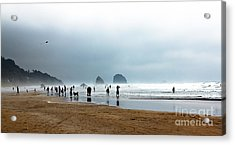 Beach Fun At Ecola  Acrylic Print by Robert Bales