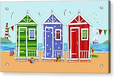 Beach Huts Acrylic Print by Peter Adderley