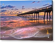 Beach Lace Acrylic Print by Debra and Dave Vanderlaan