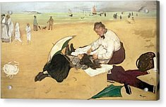Beach Scene Little Girl Having Her Hair Combed By Her Nanny Acrylic Print by Edgar Degas