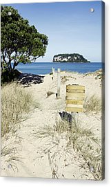 Beach Sign Acrylic Print by Les Cunliffe