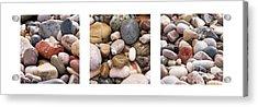 Beach Stones Triptych Acrylic Print by Stelios Kleanthous