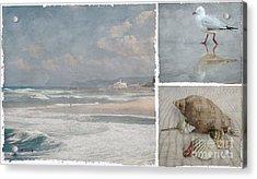 Beach Triptych 1 Acrylic Print by Linda Lees