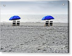 Beach Umbrellas On A Cloudy Day Acrylic Print by Thomas Marchessault