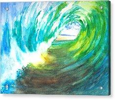 Beach View From Wave Barrel Acrylic Print by Carlin Blahnik