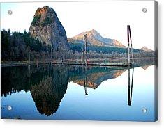 Beacon Rock Reflecions Acrylic Print by Kathy Sampson