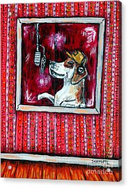 Beagle In The Vocal Booth Acrylic Print by Jay  Schmetz