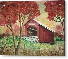 Bean Blossom Covered Bridge Acrylic Print by Anita Riemen