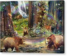 Bear Forest Magical Acrylic Print by Alixandra Mullins