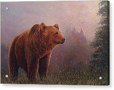 Bear In The Mist Acrylic Print by Donna Tucker