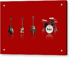 Beat Of Beatles Red Acrylic Print by Six Artist