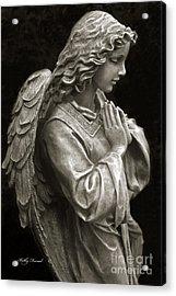 Beautiful Angel Praying Hands Christian Art Print Acrylic Print by Kathy Fornal