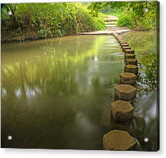 Beautiful Forest Scene Of Enchanted Stream Flowing Through Lush  Acrylic Print by Matthew Gibson