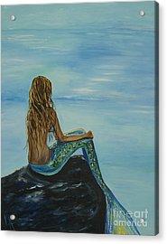 Beautiful Magic Mermaid Acrylic Print by Leslie Allen