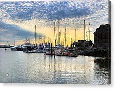 Beautiful Morning On Boston Waterfront Acrylic Print by Mark E Tisdale