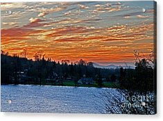Beautiful Sunset At Lake Clear Lake Washington Acrylic Print by Valerie Garner
