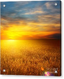 Beautiful Sunset Paintings Acrylic Print by Boon Mee